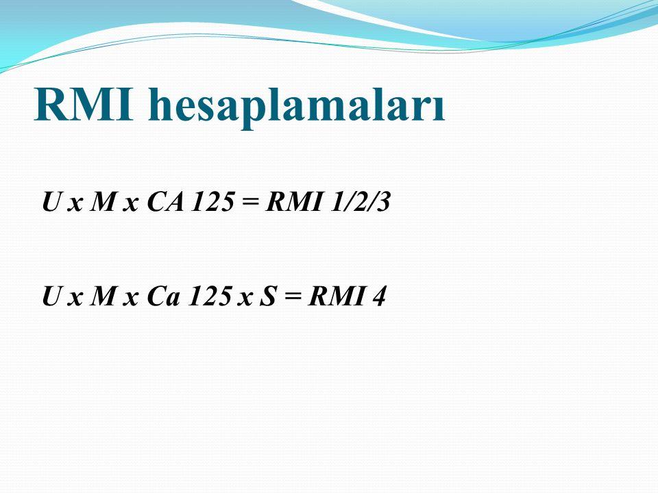 Sensitivite SpesifisiteAUC p değeri CI Premenopozal dönem RMI 1 (200) RMI 2 (200) RMI 3 (200) RMI 4 (400) RMI 4 (300) CA125 (110) 60.9 92.5 60.9 91 60.9 91.8 47.8 44 60.9 91 60.9 90 0.911 0.000 0.901 0.000 0.880 0.000 0.830 0.000 0.840 0.000 0.762 0.000 0.85 -0.95 0.84-0.95 0.81-0.94 0.73-0.94 0.63-0.88 Tablo 7.