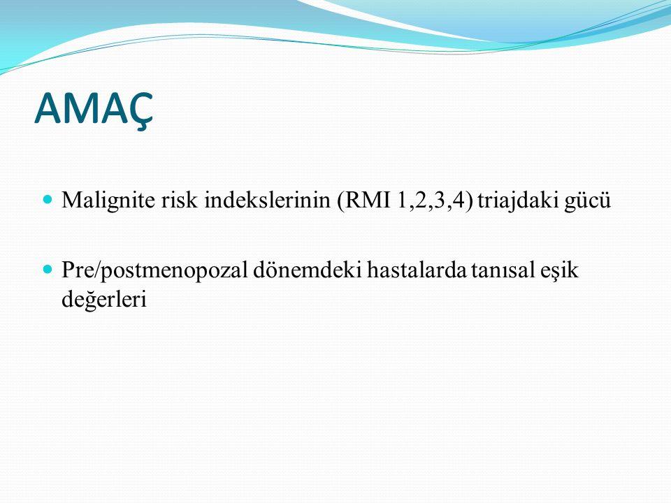 AMAÇ Malignite risk indekslerinin (RMI 1,2,3,4) triajdaki gücü Pre/postmenopozal dönemdeki hastalarda tanısal eşik değerleri AMAÇ