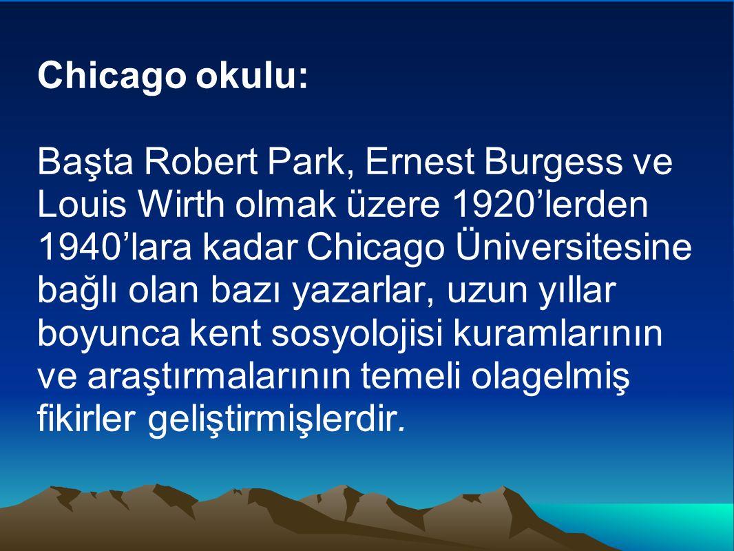 Chicago okulu: Başta Robert Park, Ernest Burgess ve Louis Wirth olmak üzere 1920'lerden 1940'lara kadar Chicago Üniversitesine bağlı olan bazı yazarla
