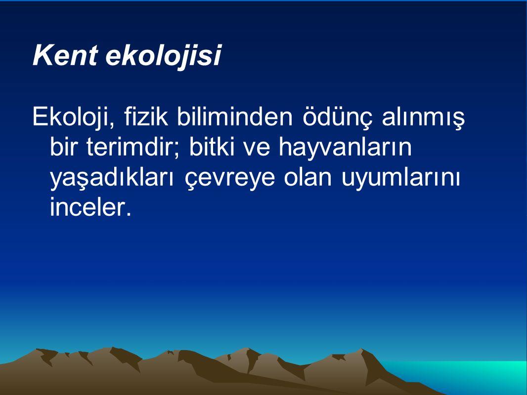 Kent ekolojisi Ekoloji, fizik biliminden ödünç alınmış bir terimdir; bitki ve hayvanların yaşadıkları çevreye olan uyumlarını inceler.