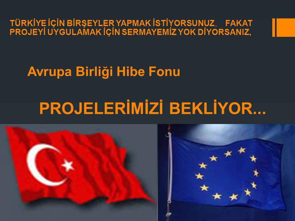 Avrupa Birliği Hibe Fonu PROJELERİMİZİ BEKLİYOR... TÜRKİYE İÇİN BİRŞEYLER YAPMAK İSTİYORSUNUZ, FAKAT PROJEYİ UYGULAMAK İÇİN SERMAYEMİZ YOK DİYORSANIZ,
