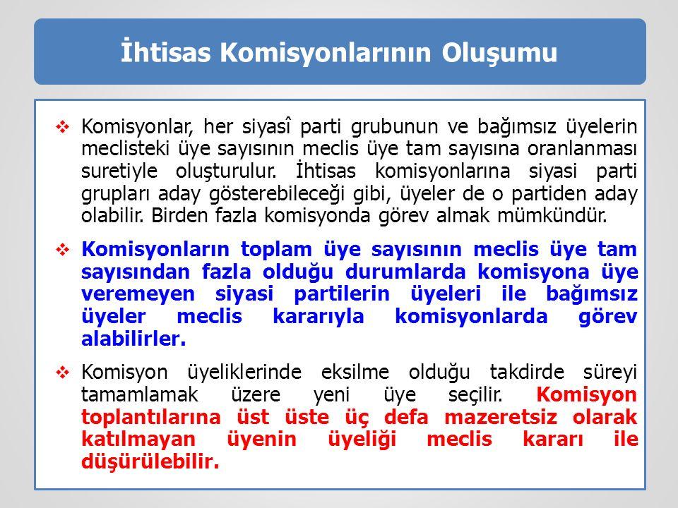 İhtisas Komisyonlarının Oluşumu  Komisyonlar, her siyasî parti grubunun ve bağımsız üyelerin meclisteki üye sayısının meclis üye tam sayısına oranlan