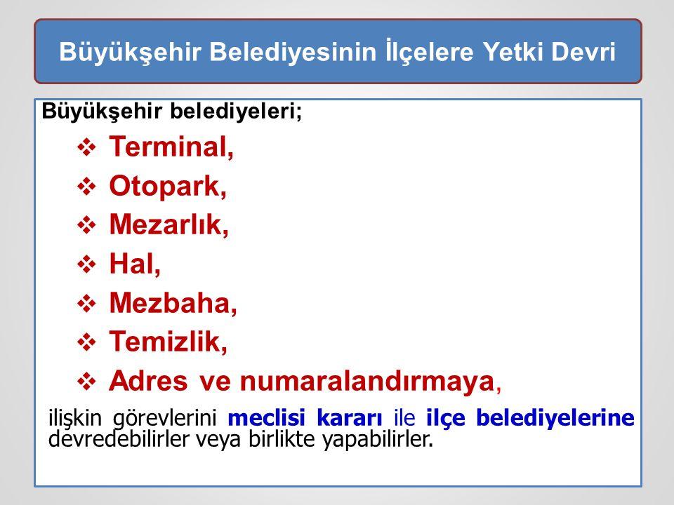Büyükşehir Belediyesinin İlçelere Yetki Devri Büyükşehir belediyeleri;  Terminal,  Otopark,  Mezarlık,  Hal,  Mezbaha,  Temizlik,  Adres ve num
