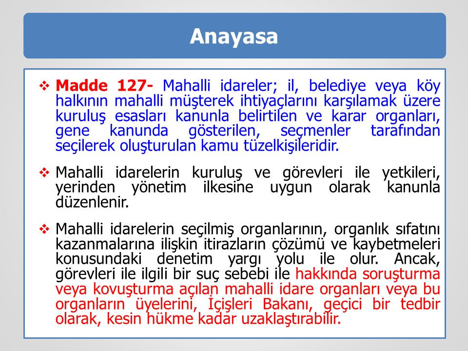 Belediye Başkanı  Madde 37- Belediye başkanı, belediye idaresinin başı ve belediye tüzel kişiliğinin temsilcisidir.