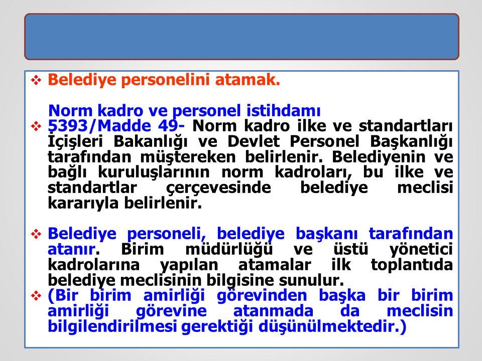  Belediye personelini atamak. Norm kadro ve personel istihdamı  5393/Madde 49- Norm kadro ilke ve standartları İçişleri Bakanlığı ve Devlet Personel