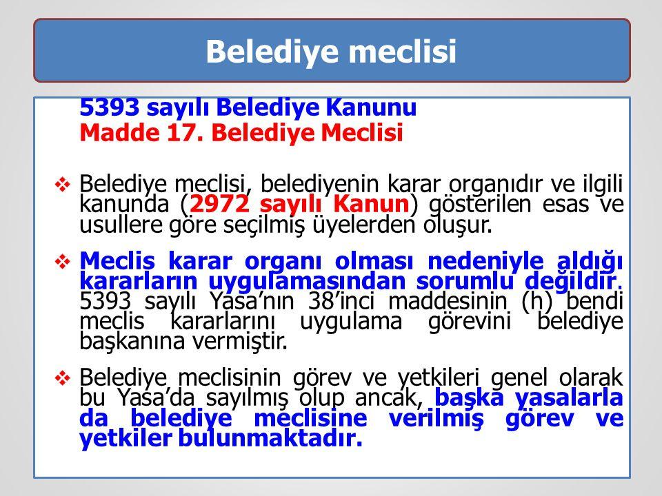 Belediye meclisi 5393 sayılı Belediye Kanunu Madde 17. Belediye Meclisi  Belediye meclisi, belediyenin karar organıdır ve ilgili kanunda (2972 sayılı