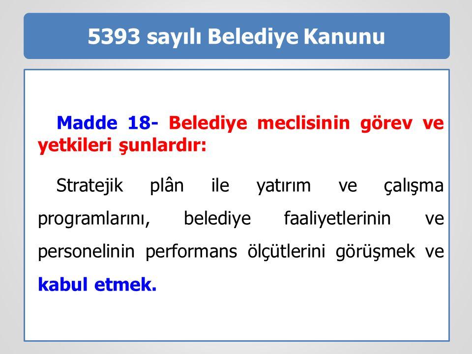 5393 sayılı Belediye Kanunu Madde 18- Belediye meclisinin görev ve yetkileri şunlardır: Stratejik plân ile yatırım ve çalışma programlarını, belediye