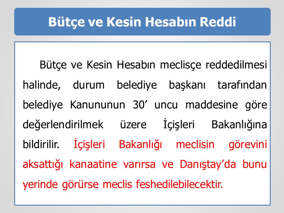 Bütçe ve Kesin Hesabın Reddi Bütçe ve Kesin Hesabın meclisçe reddedilmesi halinde, durum belediye başkanı tarafından belediye Kanununun 30' uncu madde