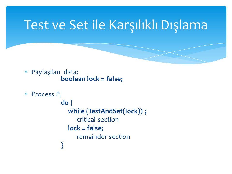  Paylaşılan data: boolean lock = false;  Process P i do { while (TestAndSet(lock)) ; critical section lock = false; remainder section } Test ve Set ile Karşılıklı Dışlama