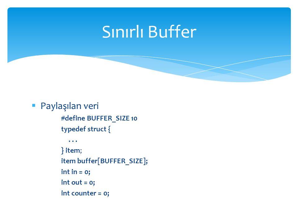  Paylaşılan veri #define BUFFER_SIZE 10 typedef struct {...