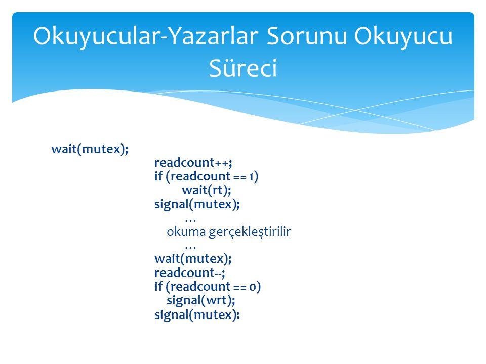 wait(mutex); readcount++; if (readcount == 1) wait(rt); signal(mutex); … okuma gerçekleştirilir … wait(mutex); readcount--; if (readcount == 0) signal(wrt); signal(mutex): Okuyucular-Yazarlar Sorunu Okuyucu Süreci