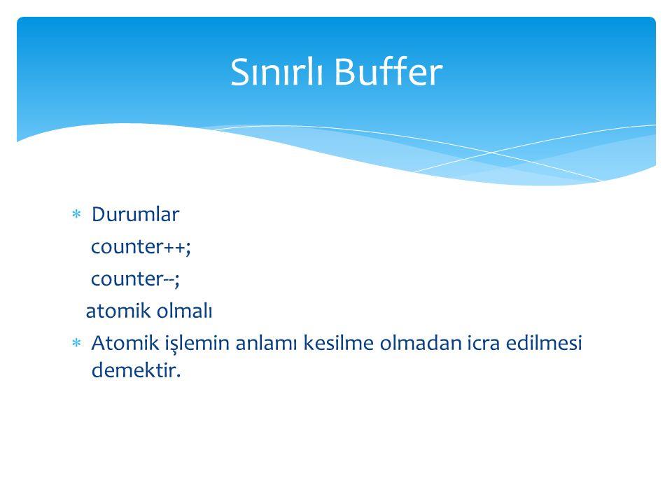  Durumlar counter++; counter--; atomik olmalı  Atomik işlemin anlamı kesilme olmadan icra edilmesi demektir.
