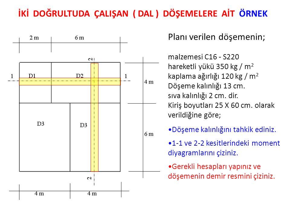 Planı verilen döşemenin; malzemesi C16 - S220 hareketli yükü 350 kg / m 2 kaplama ağırlığı 120 kg / m 2 Döşeme kalınlığı 13 cm. sıva kalınlığı 2 cm. d