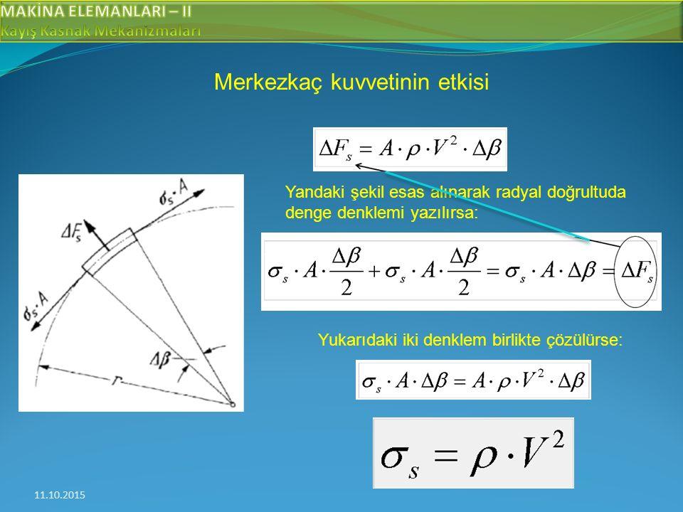 11.10.2015 Merkezkaç kuvvetinin etkisi Yandaki şekil esas alınarak radyal doğrultuda denge denklemi yazılırsa: Yukarıdaki iki denklem birlikte çözülürse: