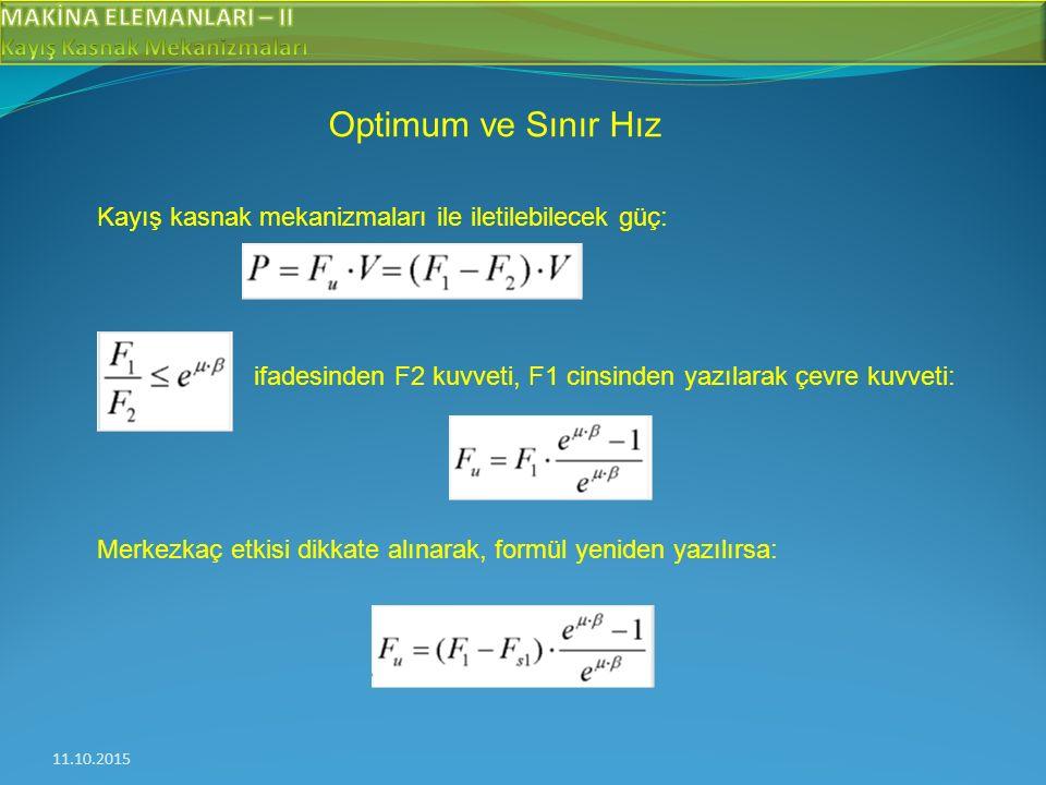 11.10.2015 Optimum ve Sınır Hız Kayış kasnak mekanizmaları ile iletilebilecek güç: ifadesinden F2 kuvveti, F1 cinsinden yazılarak çevre kuvveti: Merkezkaç etkisi dikkate alınarak, formül yeniden yazılırsa:
