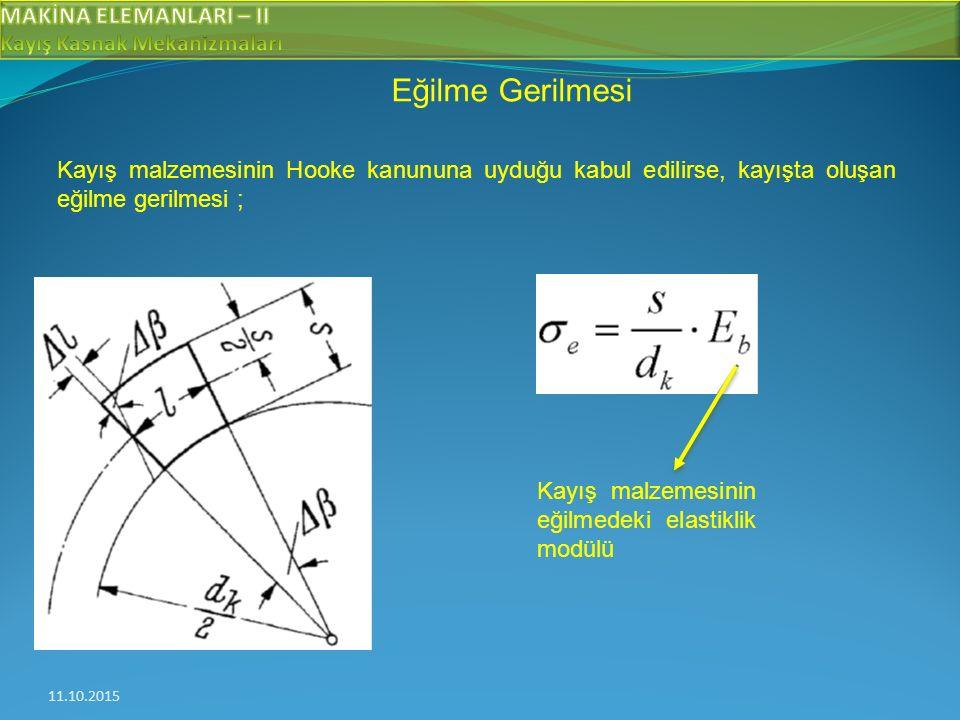 11.10.2015 Eğilme Gerilmesi Kayış malzemesinin Hooke kanununa uyduğu kabul edilirse, kayışta oluşan eğilme gerilmesi ; Kayış malzemesinin eğilmedeki elastiklik modülü