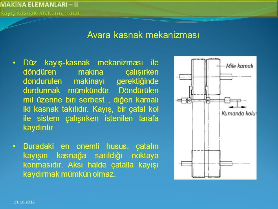 11.10.2015 Avara kasnak mekanizması Düz kayış ‐ kasnak mekanizması ile döndüren makina çalışırken döndürülen makinayı gerektiğinde durdurmak mümkündür.