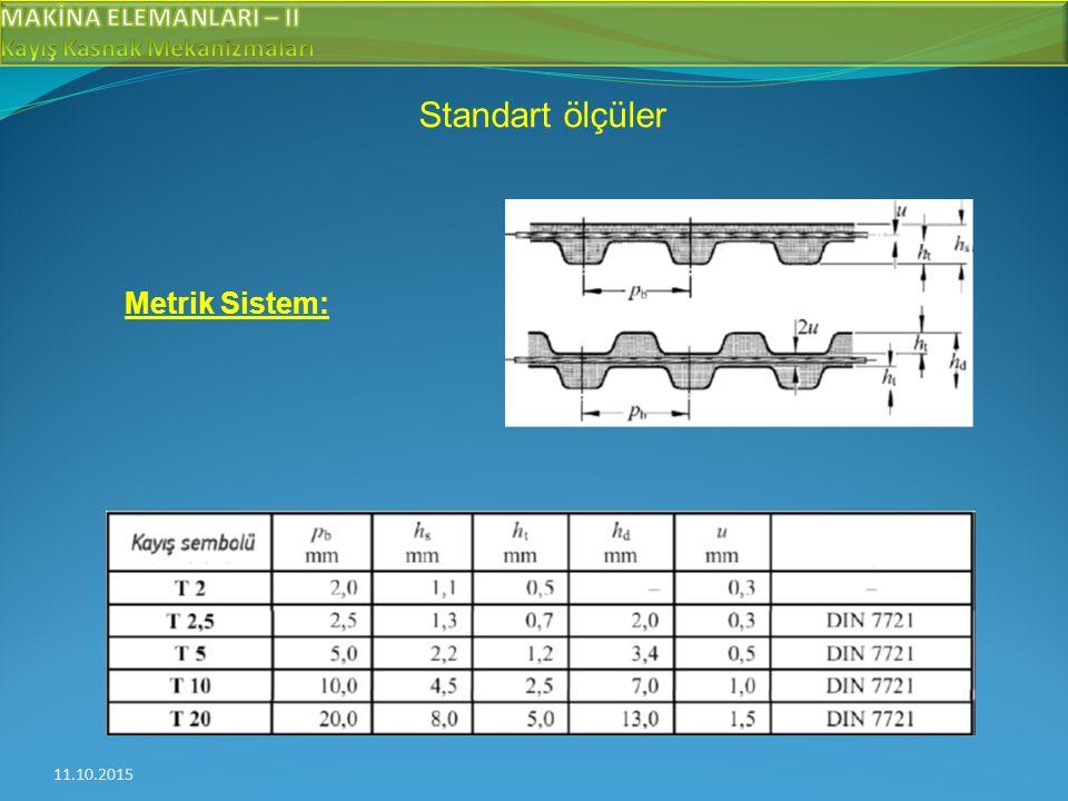 11.10.2015 Standart ölçüler Metrik Sistem: