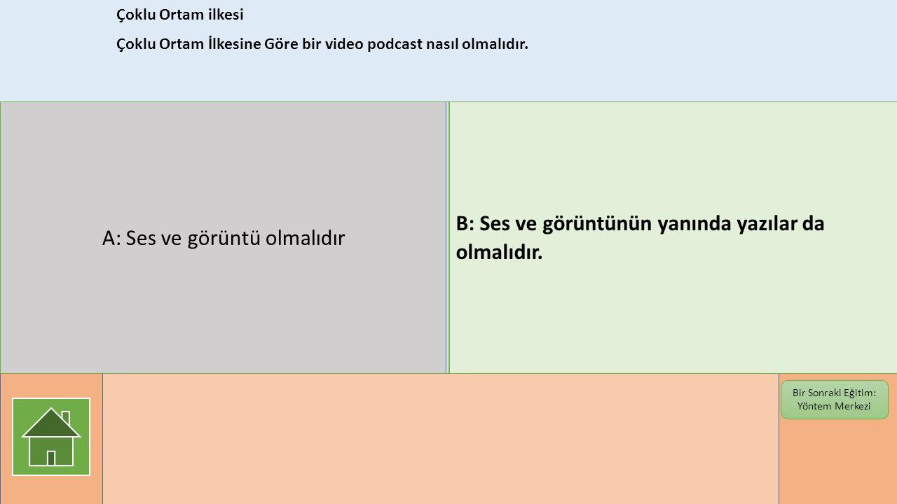 Çoklu Ortam ilkesi Çoklu Ortam İlkesine Göre bir video podcast nasıl olmalıdır. Bir Sonraki Eğitim: Yöntem Merkezi A: Ses ve görüntü olmalıdır B: Ses
