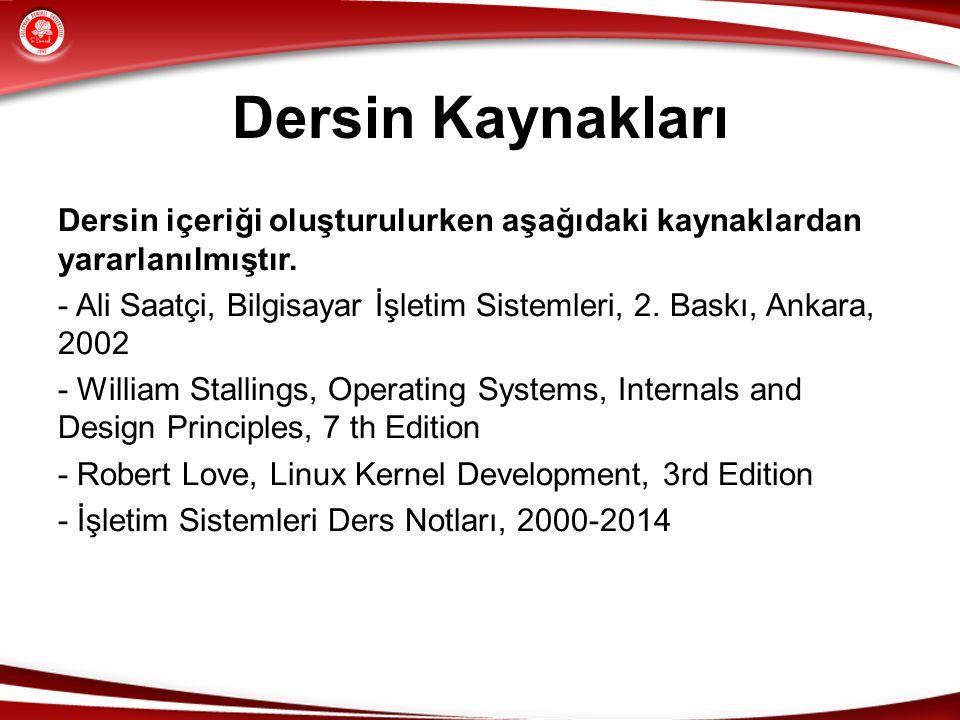 Dersin Kaynakları Dersin içeriği oluşturulurken aşağıdaki kaynaklardan yararlanılmıştır. - Ali Saatçi, Bilgisayar İşletim Sistemleri, 2. Baskı, Ankara