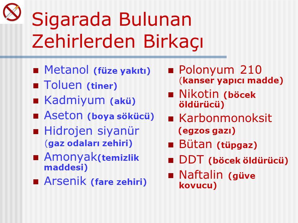 Sigarada Bulunan Zehirlerden Birkaçı Metanol (füze yakıtı) Toluen (tiner) Kadmiyum (akü) Aseton (boya sökücü) Hidrojen siyanür (gaz odaları zehiri) Amonyak (temizlik maddesi) Arsenik (fare zehiri) Polonyum 210 (kanser yapıcı madde) Nikotin (böcek öldürücü) Karbonmonoksit (egzos gazı) Bütan (tüpgaz) DDT (böcek öldürücü) Naftalin (güve kovucu)