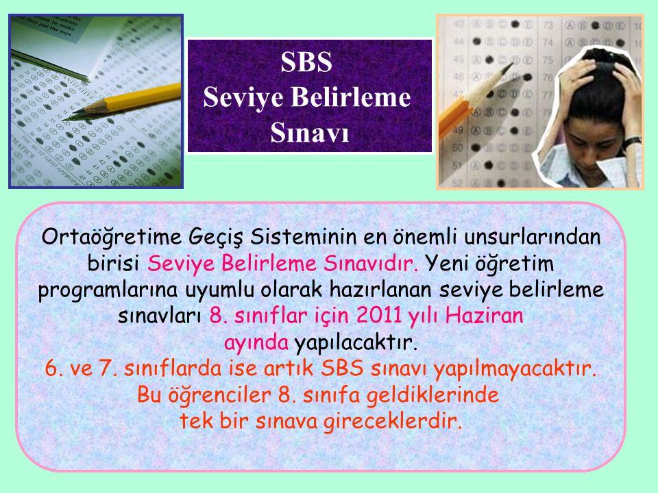 SBS Seviye Belirleme Sınavı Ortaöğretime Geçiş Sisteminin en önemli unsurlarından birisi Seviye Belirleme Sınavıdır. Yeni öğretim programlarına uyumlu