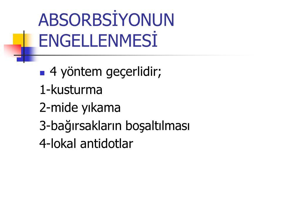 ABSORBSİYONUN ENGELLENMESİ 4 yöntem geçerlidir; 1-kusturma 2-mide yıkama 3-bağırsakların boşaltılması 4-lokal antidotlar