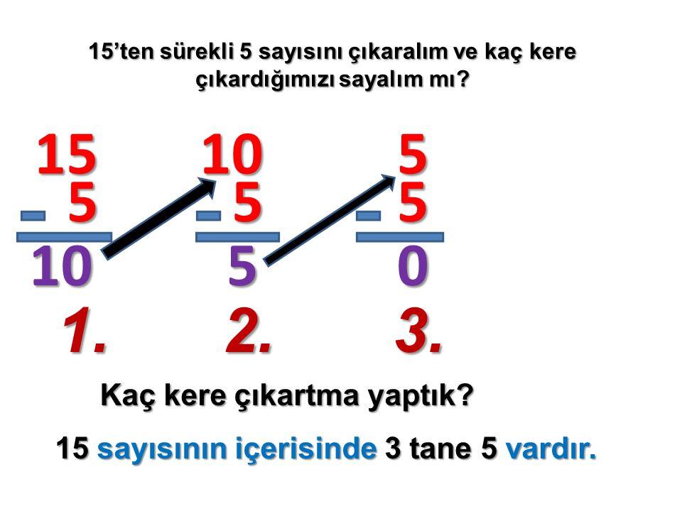 15'ten sürekli 5 sayısını çıkaralım ve kaç kere çıkardığımızı sayalım mı? Kaç kere çıkartma yaptık? 15 5 10 10 5 5 5 5 0 1.2.3. 15 sayısının içerisind