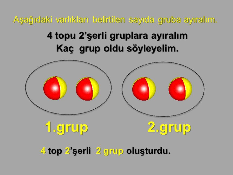 Aşağıdaki varlıkları belirtilen sayıda gruba ayıralım. 4 topu 2'şerli gruplara ayıralım Kaç grup oldu söyleyelim. 1.grup 2.grup 4 top 2'şerli 2 grup o