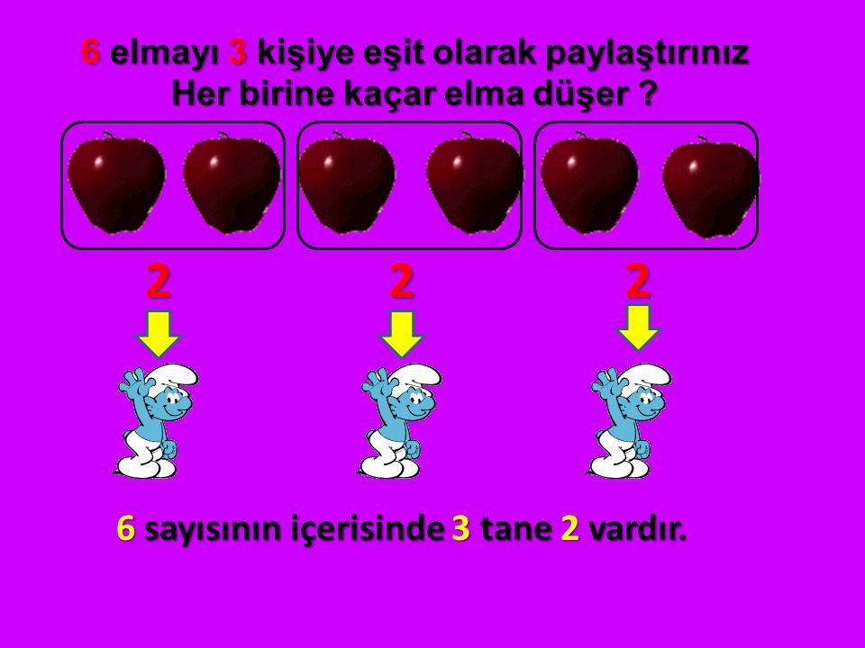 6 elmayı 3 kişiye eşit olarak paylaştırınız Her birine kaçar elma düşer ? 6 sayısının içerisinde 3 tane 2 vardır. 222