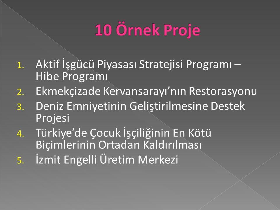 1.Aktif İşgücü Piyasası Stratejisi Programı – Hibe Programı 2.