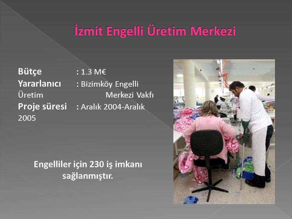 Bütçe : 1.3 M€ Yararlanıcı : Bizimköy Engelli Üretim Merkezi Vakfı Proje süresi : Aralık 2004-Aralık 2005 Engelliler için 230 iş imkanı sağlanmıştır.