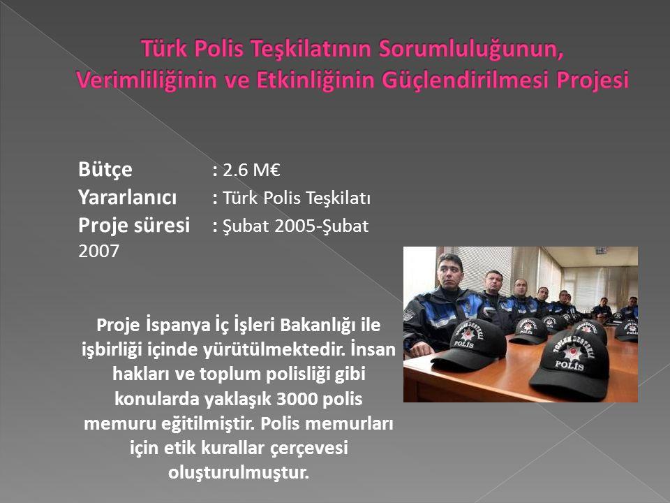 Bütçe : 2.6 M€ Yararlanıcı : Türk Polis Teşkilatı Proje süresi : Şubat 2005-Şubat 2007 Proje İspanya İç İşleri Bakanlığı ile işbirliği içinde yürütülmektedir.