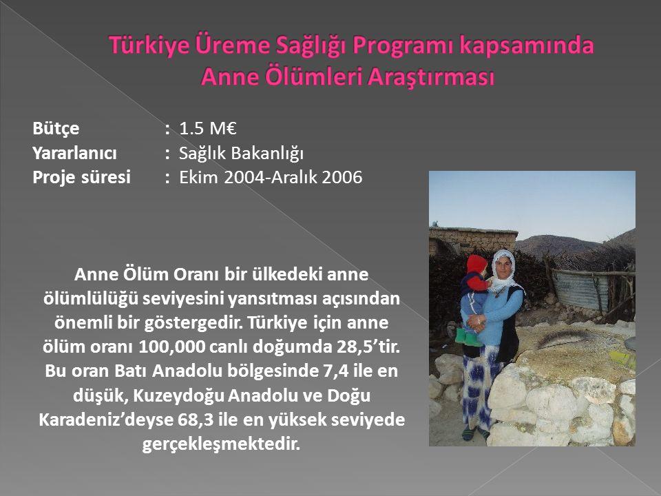 Bütçe: 1.5 M€ Yararlanıcı : Sağlık Bakanlığı Proje süresi: Ekim 2004-Aralık 2006 Anne Ölüm Oranı bir ülkedeki anne ölümlülüğü seviyesini yansıtması açısından önemli bir göstergedir.