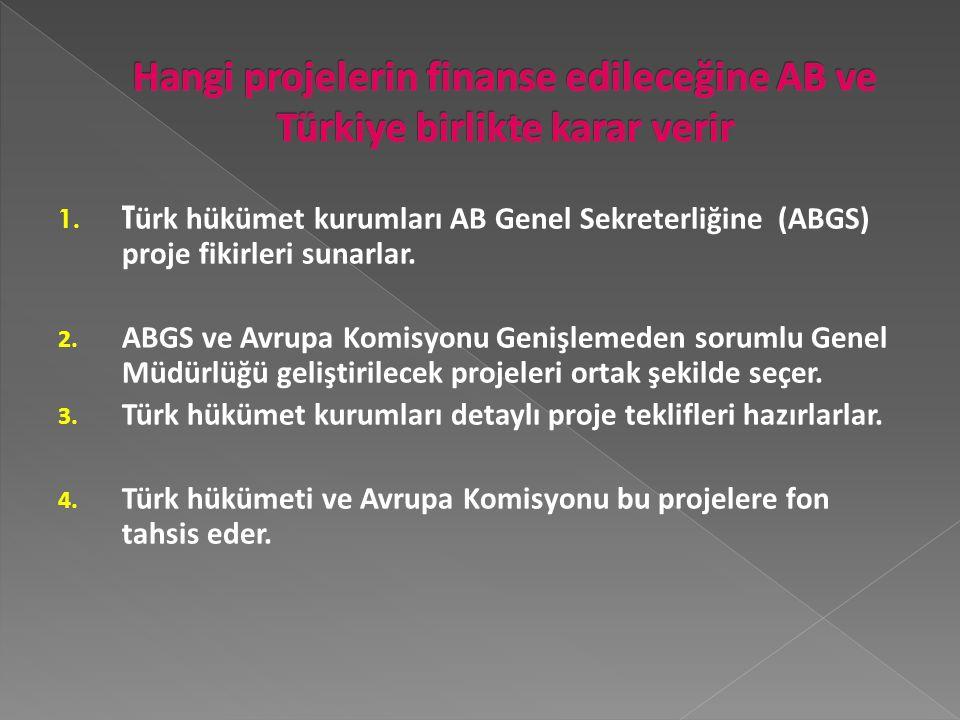 1.T ürk hükümet kurumları AB Genel Sekreterliğine (ABGS) proje fikirleri sunarlar.