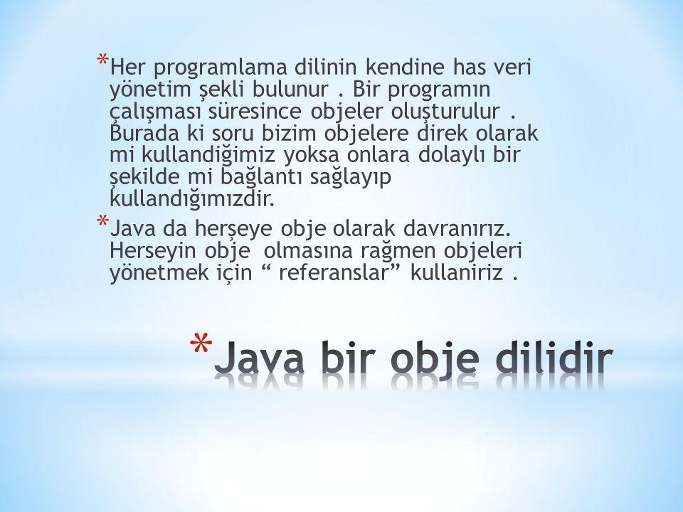 * Her programlama dilinin kendine has veri yönetim şekli bulunur. Bir programın çalışması süresince objeler oluşturulur. Burada ki soru bizim objelere