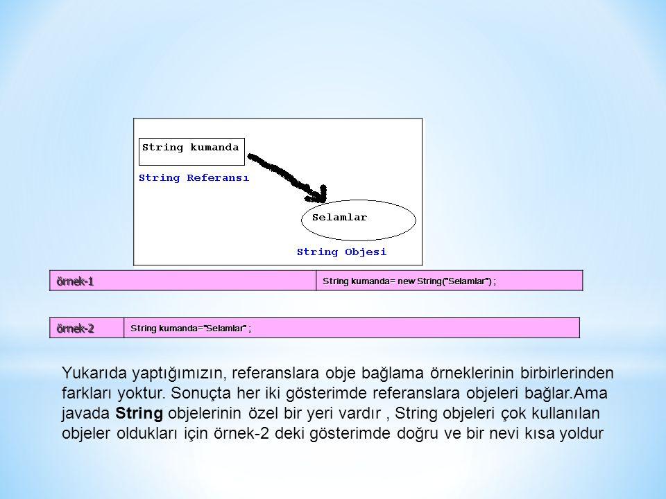 örnek-1 String kumanda= new String(