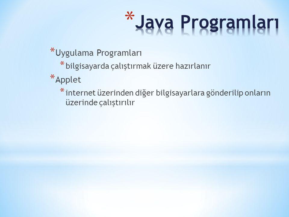 * Uygulama Programları * bilgisayarda çalıştırmak üzere hazırlanır * Applet * internet üzerinden diğer bilgisayarlara gönderilip onların üzerinde çalı