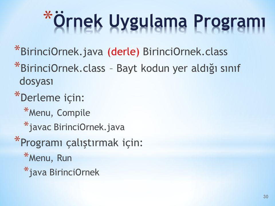 * BirinciOrnek.java (derle) BirinciOrnek.class * BirinciOrnek.class – Bayt kodun yer aldığı sınıf dosyası * Derleme için: * Menu, Compile * javac Biri