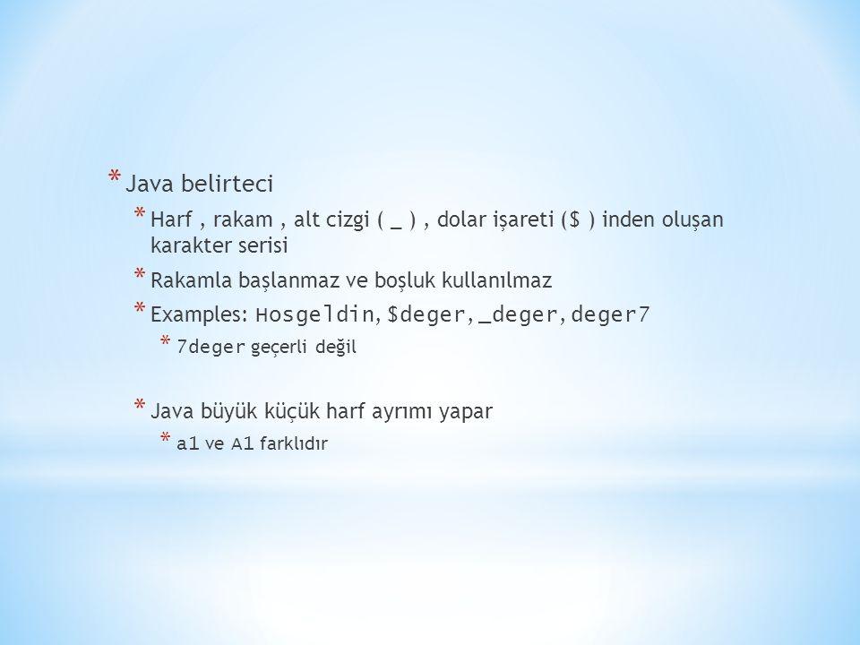* Java belirteci * Harf, rakam, alt cizgi ( _ ), dolar işareti ( $ ) inden oluşan karakter serisi * Rakamla başlanmaz ve boşluk kullanılmaz * Examples