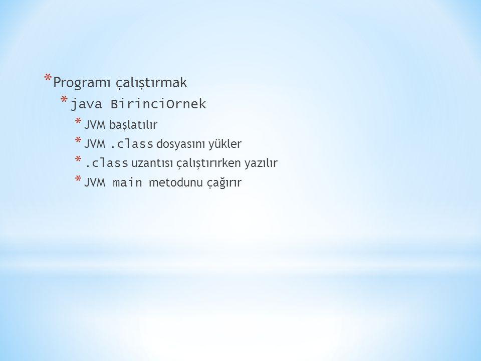 * Programı çalıştırmak * java BirinciOrnek * JVM başlatılır * JVM.class dosyasını yükler *.class uzantısı çalıştırırken yazılır * JVM main metodunu ça
