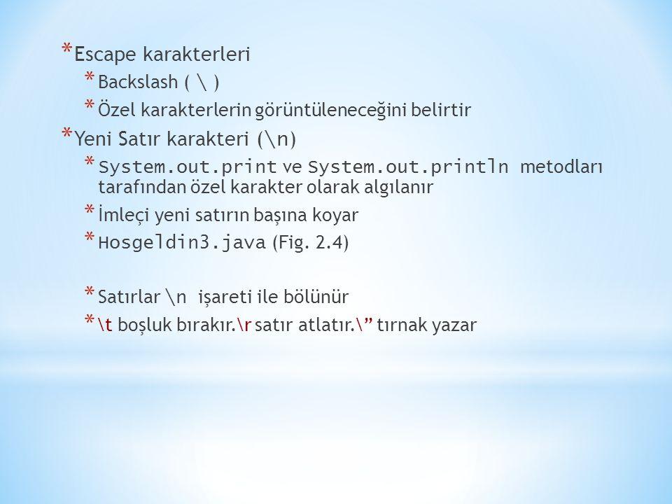 * Escape karakterleri * Backslash ( \ ) * Özel karakterlerin görüntüleneceğini belirtir * Yeni Satır karakteri ( \n ) * System.out.print ve System.out