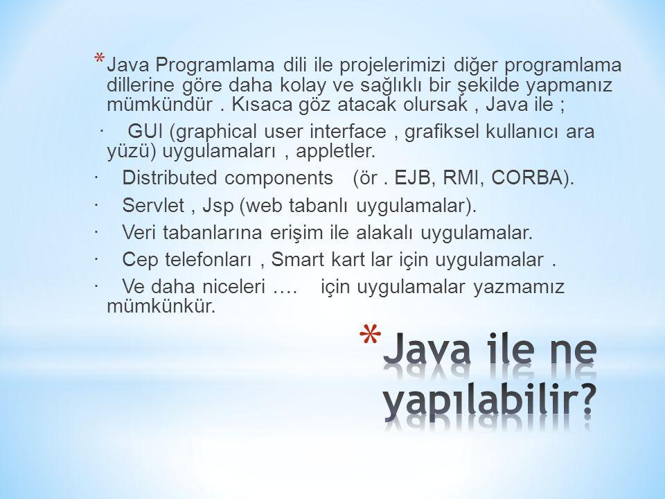 * Java Programlama dili ile projelerimizi diğer programlama dillerine göre daha kolay ve sağlıklı bir şekilde yapmanız mümkündür. Kısaca göz atacak ol
