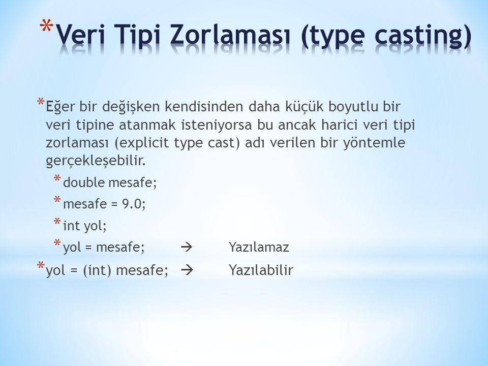 * Eğer bir değişken kendisinden daha küçük boyutlu bir veri tipine atanmak isteniyorsa bu ancak harici veri tipi zorlaması (explicit type cast) adı ve
