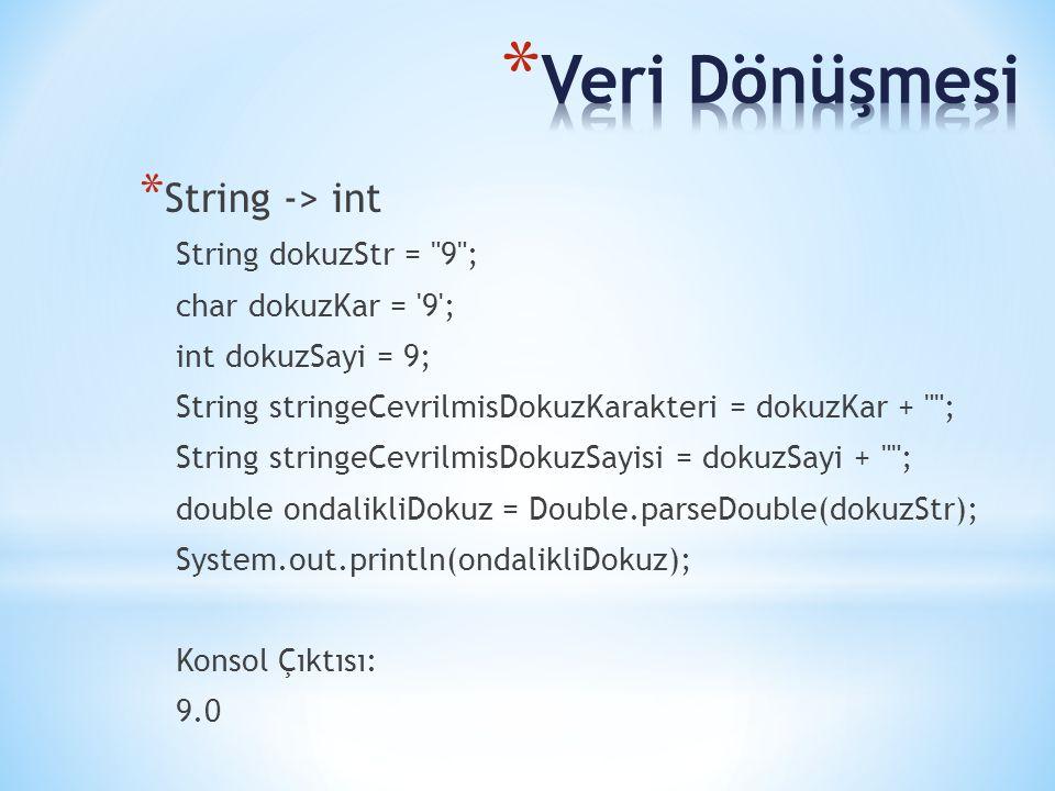 * String -> int String dokuzStr =