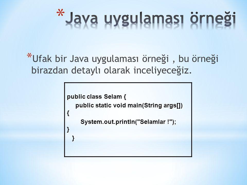 * Ufak bir Java uygulaması örneği, bu örneği birazdan detaylı olarak inceliyeceğiz. public class Selam { public static void main(String args[]) { publ