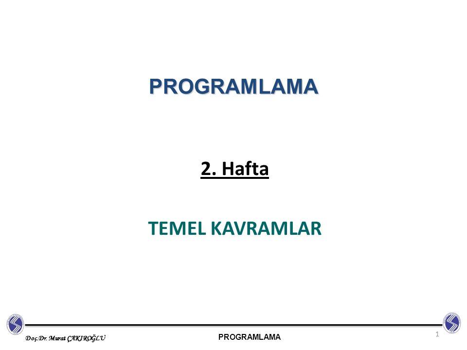 PROGRAMLAMA Doç.Dr. Murat ÇAKIROĞLU 2. Hafta TEMEL KAVRAMLAR 1 PROGRAMLAMA