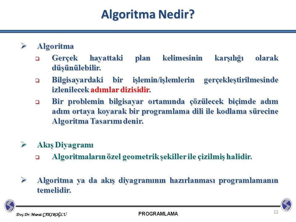 PROGRAMLAMA Doç.Dr. Murat ÇAKIROĞLU 12 Algoritma Nedir?  Algoritma  Gerçek hayattaki plan kelimesinin karşılığı olarak düşünülebilir.  Bilgisayarda
