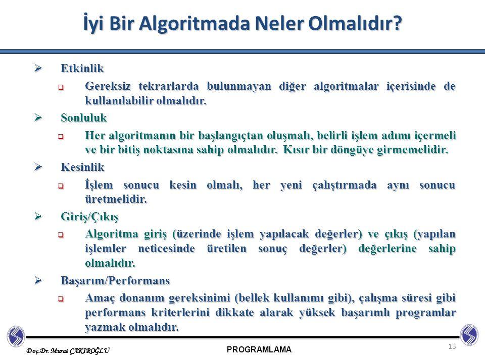 PROGRAMLAMA Doç.Dr. Murat ÇAKIROĞLU 13 İyi Bir Algoritmada Neler Olmalıdır?  Etkinlik  Gereksiz tekrarlarda bulunmayan diğer algoritmalar içerisinde