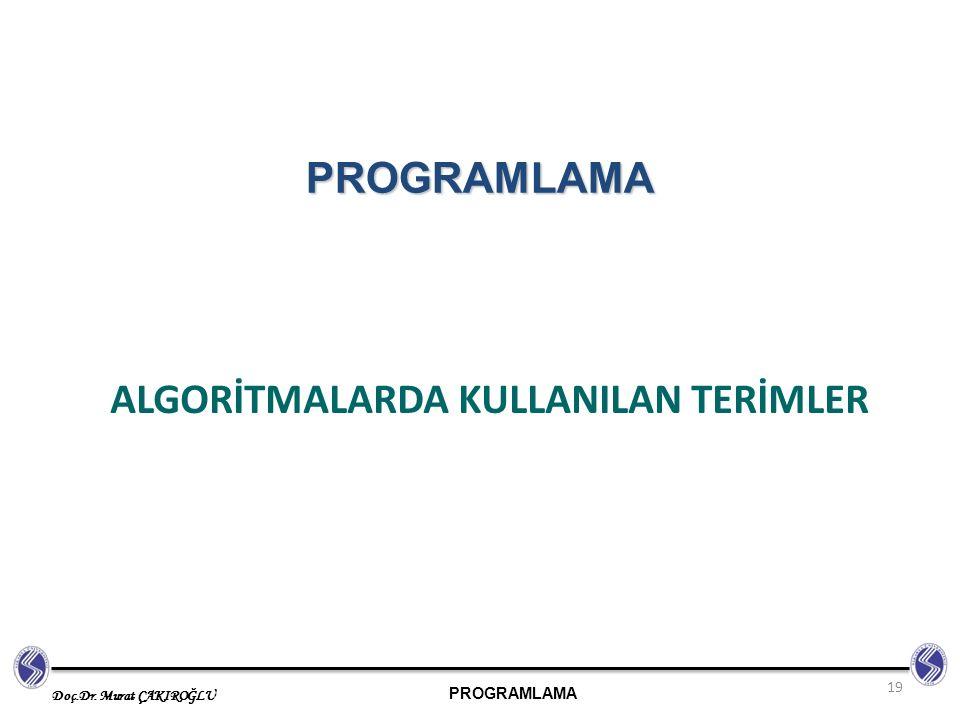 PROGRAMLAMA Doç.Dr. Murat ÇAKIROĞLU ALGORİTMALARDA KULLANILAN TERİMLER 19 PROGRAMLAMA